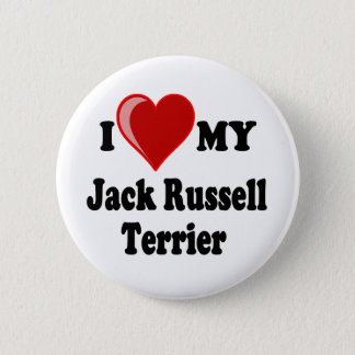 I Love (Heart) My Jack Russell Terrier Dog 6 Cm Round Badge