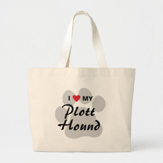 I Love (Heart) My Plott Hound Large Tote Bag
