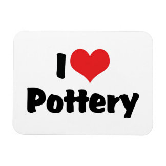 I Love Heart Pottery - Clay Lover Rectangular Photo Magnet