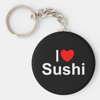 I Love (Heart) Sushi Basic Round Button Key Ring