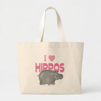 I Love Hippos Large Tote Bag