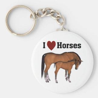 I Love Horses Keyring Basic Round Button Key Ring