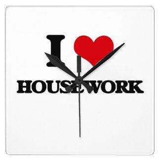 I love Housework Square Wallclock