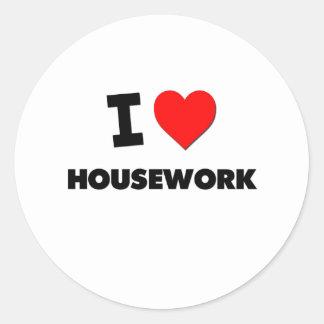 I Love Housework Round Sticker