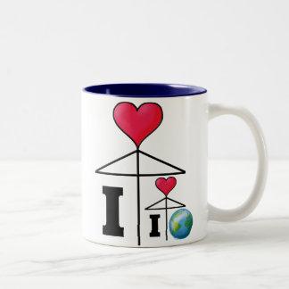 I love (I love the World) Umbrella Two-Tone Mug