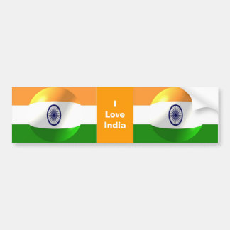 I Love India Bumper Sticker Indian Flag Bubble