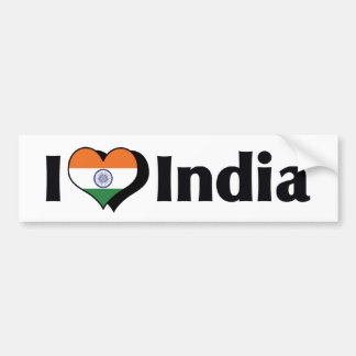 I Love India Flag Bumper Sticker
