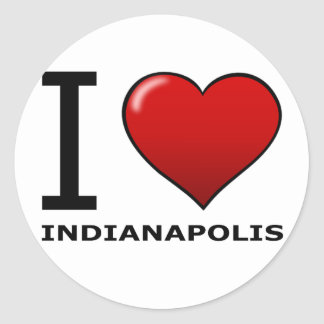 I LOVE INDIANAPOLIS,IN - INDIANA CLASSIC ROUND STICKER