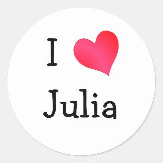 I Love Julia Round Sticker