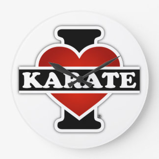 I Love Karate Large Clock
