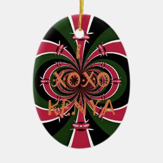 I Love Kenya XOXO National Flag Colors Christmas Ornament