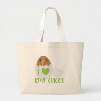 I love KIWI CHICKS with a kiwi New Zealand bird Tote Bags