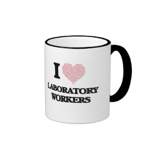I love Laboratory Workers (Heart made from words) Ringer Mug
