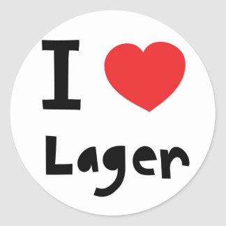 I love Lager Classic Round Sticker