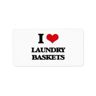 I Love Laundry Baskets Address Label