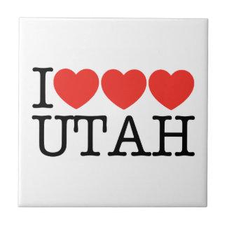 I Love Love Love UTAH! Small Square Tile