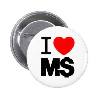 I Love M$ (light) Pinback Buttons