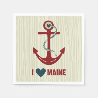 I Love Maine Red Anchor Disposable Serviettes