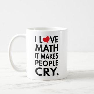 I Love Math, It makes people cry typography Basic White Mug