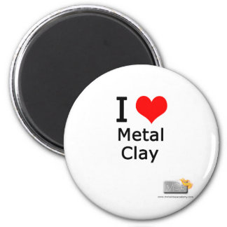 I love metal clay 6 cm round magnet