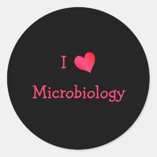 I Love Microbiology Round Sticker