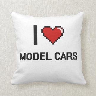 I Love Model Cars Digital Retro Design Throw Cushion