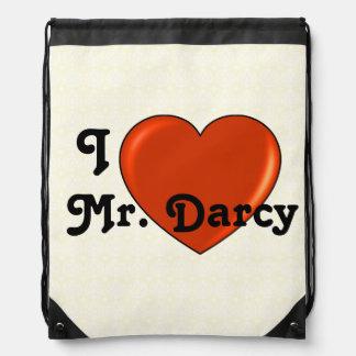 I love Mr. Darcy with Heart Jane Austen Drawstring Bag