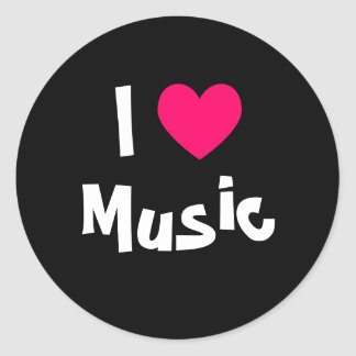 I Love Music Round Sticker