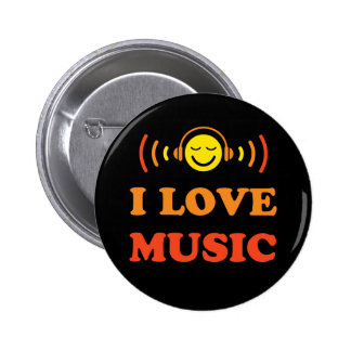 I love music smiley face with headphones button