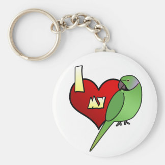 I Love my African Ringneck Parakeet Basic Round Button Key Ring