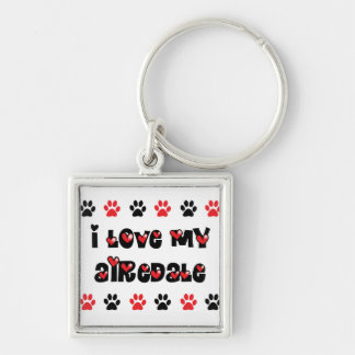 I Love My Airedale Key Ring