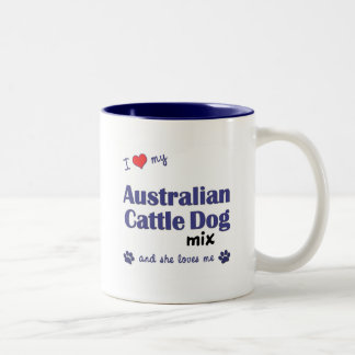 I Love My Australian Cattle Dog Mix (Female Dog) Two-Tone Coffee Mug