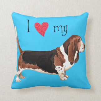 I Love my Basset Hound Throw Pillow