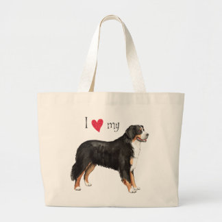 I Love my Bernese Mountain Dog Large Tote Bag