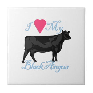 I Love My Black Angus Small Square Tile