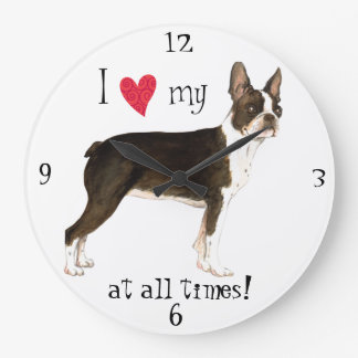I Love my Boston Terrier Large Clock