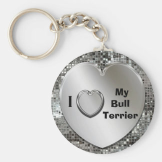 I Love My Bull Terrier Heart Keychain