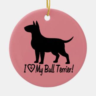 I Love My Bull Terrier Heart Paw Print Christmas Ornament