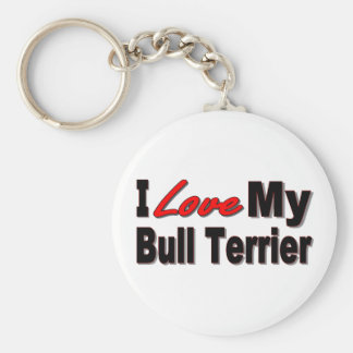 I Love My Bull Terrier Keychain