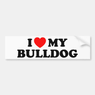 I Love my Bulldog Bumper Sticker Car Bumper Sticker