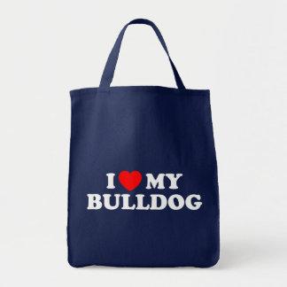 I Love my Bulldog Grocery Tote Bag