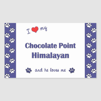 I Love My Chocolate Point Himalayan (Male Cat) Rectangular Sticker