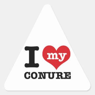 I Love my conure Triangle Sticker