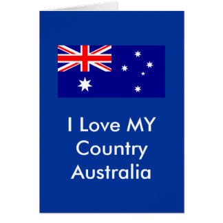 I Love MY Country Australia Flag Template Card