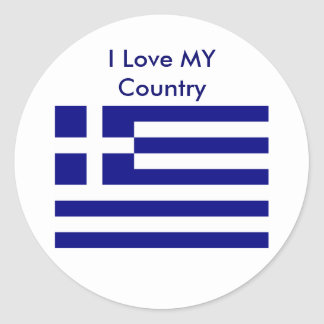 I Love MY Country Greece Flag The MUSEUM Zazzle Round Stickers