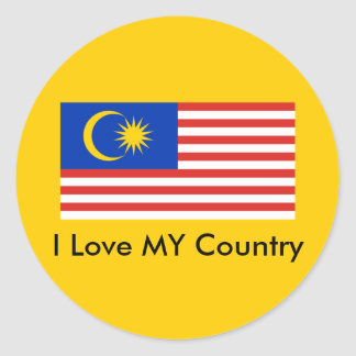I Love MY Country Malaysia FlagnThe MUSEUM Zazzle Round Stickers