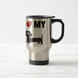 I love my dachshund (black) travel mug
