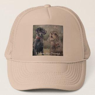 I Love My Dawgs. Black Labrador and an Otterhound. Trucker Hat