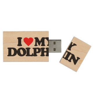 I LOVE MY DOLPHIN WOOD USB 2.0 FLASH DRIVE