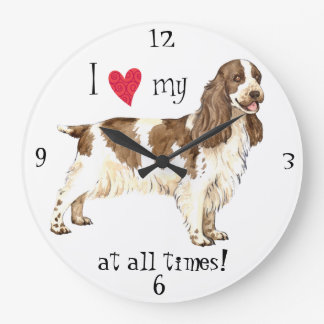 I Love my English Cocker Spaniel Large Clock